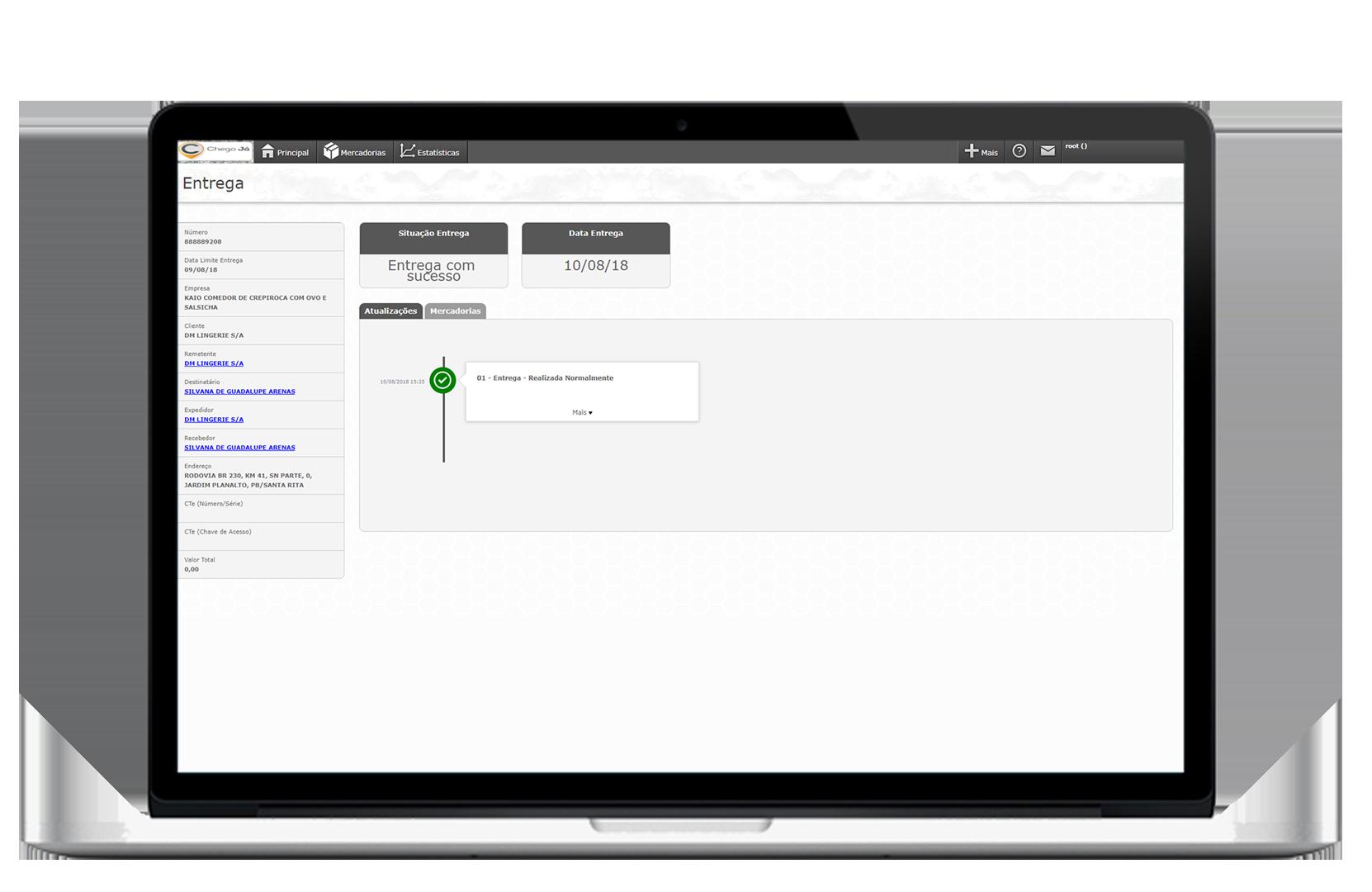 Monitoramento de entrega em tempo real