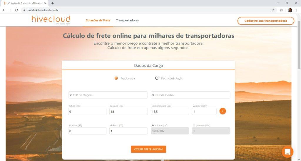 página inicial Fretelink