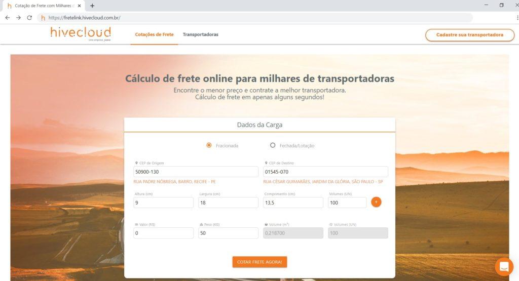 página do Hivecloud Fretelink para venda de frete online