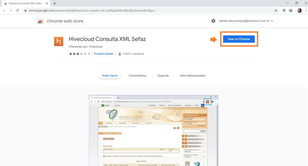 site Hivecloud para instalação de extensão XML