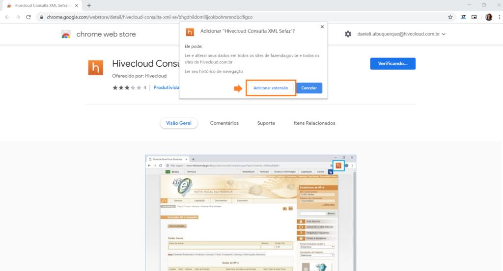 instalação do plugin Hivecloud no navegador