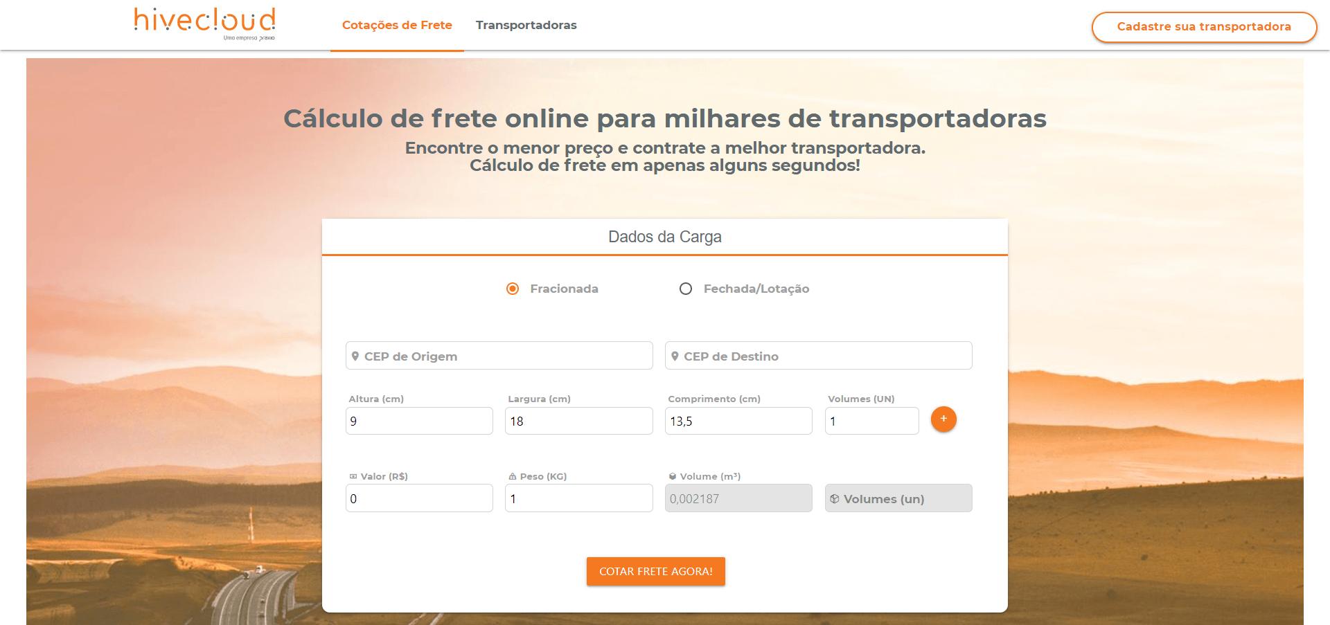 Portal Fretelink para contratação de transportadora