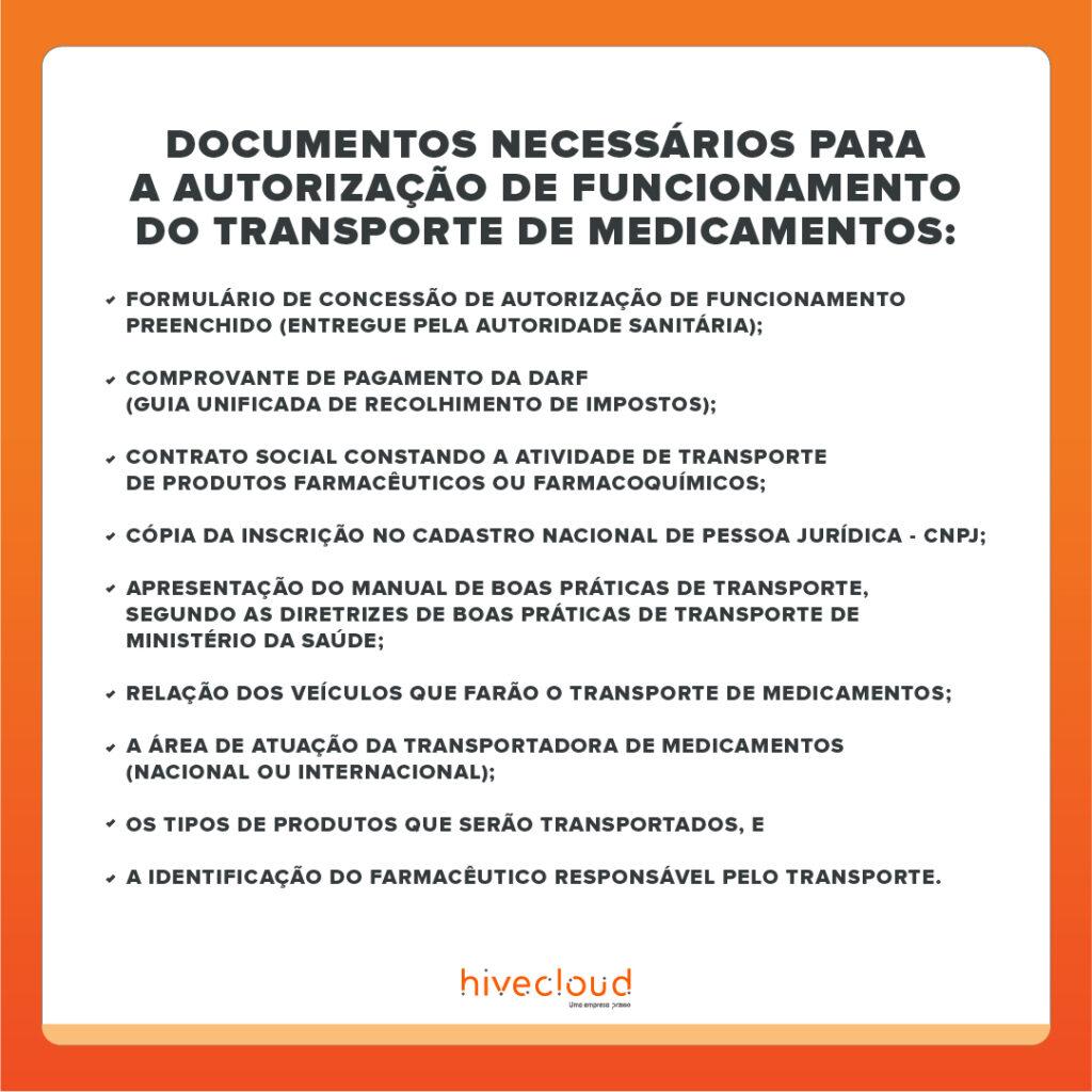 Checklist Documentos Necessarios para o Transporte de Medicamentos