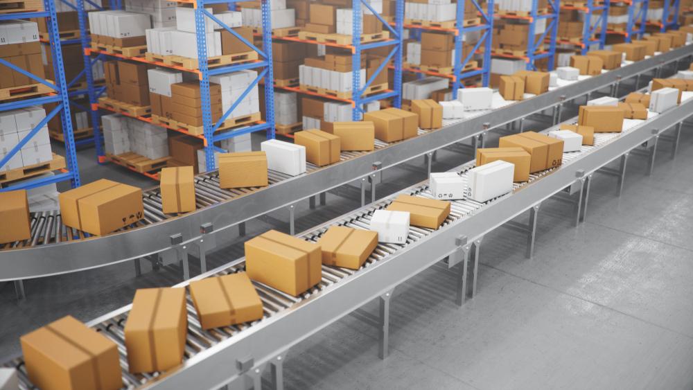 esteiras transportando mercadorias mais rapidamente